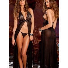 Sexy lingerie perspective sexy perspective dress+G-string black all code