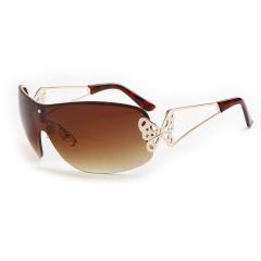 Vintage Aviator Fashion Shield Sunglasses Butterfly Warp Glasses For Women Metal Frame Golden Gold NE350