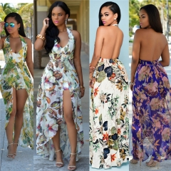 2017 Halterneck Dress and Shorts Women Chiffon Patterned Dress Suits Purple S