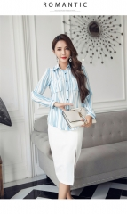 Temperamental Two-piece Fashion Print Shirt With A Waist Skirt Suit as picture s