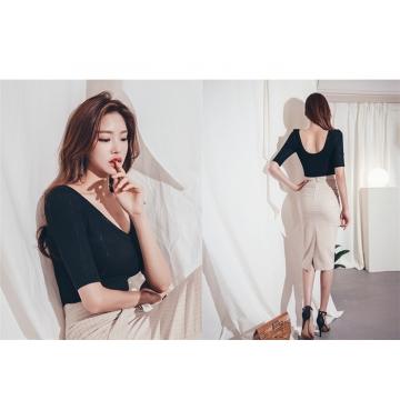 OL Temperament Two-piece V-neck Blouse Fashion Waist Skirt Suit as picture s