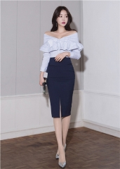 Off-The-Shoulder Flounced Striped Blouse Slim Package Hip Skirt OL Suits As Picture S