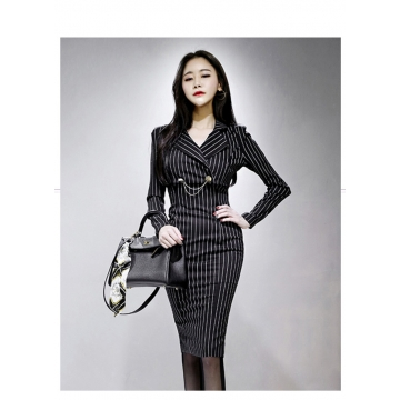 A Striped Suit Collar With A Long Dress And Two Suits as picture s