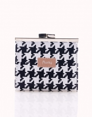 Valentines gift SimFun Women's Coin Purse Houndstooth Pattern Multifunction Hasp Decor Casual Bag As picture one size