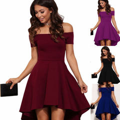 Summer Elegant Party Slash Neck Off Shoulder Dress Evening Party Dress Pure Color Dress S PURPLE