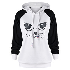 women black white long sleeve hooded tops blouse spring autumn casual blouse print tops white l