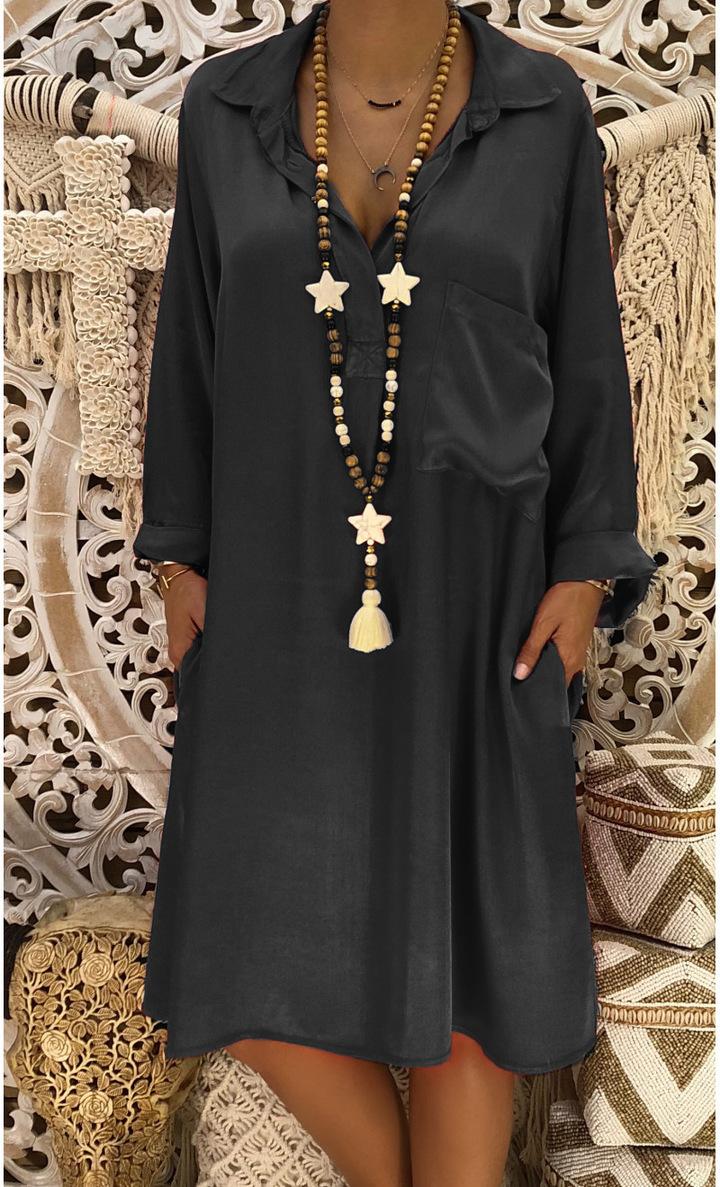 fe3fdabd9a7 women turn-down collar long sleeve midi dress pure color pocket dress  autumn spring dress
