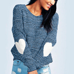 women o neck long sleeve tops sweater lady autumn winter casual leisure brand knitted tops sweater blue s