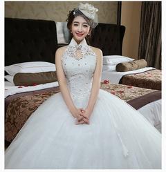 Women Elegant Halter Sleeveless Plus Maxi Dress A-Line Floor Length Long Wedding dress S white