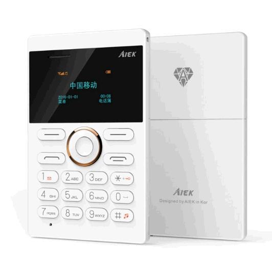 mini Cell Phone Student Version ultra thin mini credit card Mobile phone FM Radio Bluetooth white