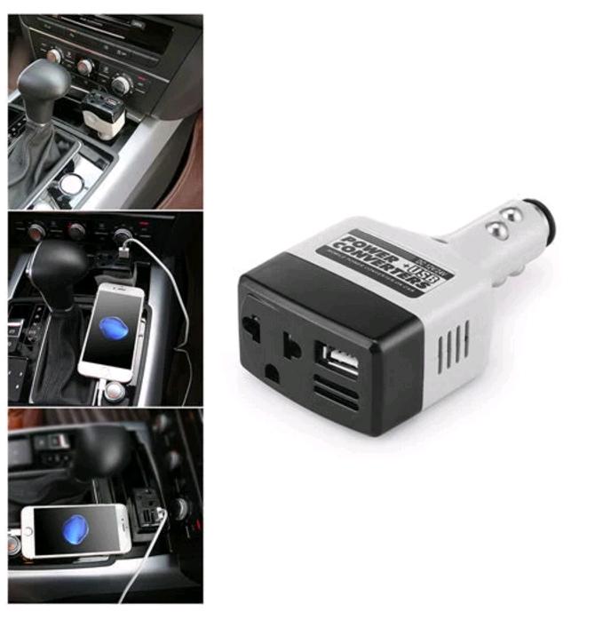 Car Mobile Converter Inverter Adapter DC 12V//24V to AC 220V Charger Power+USB