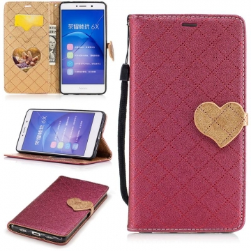 Huawei Honor 6X Case,PU Leather Wallet Flip Phone Case Cover with Card Slot (Red) For  Huawei Honor 6X