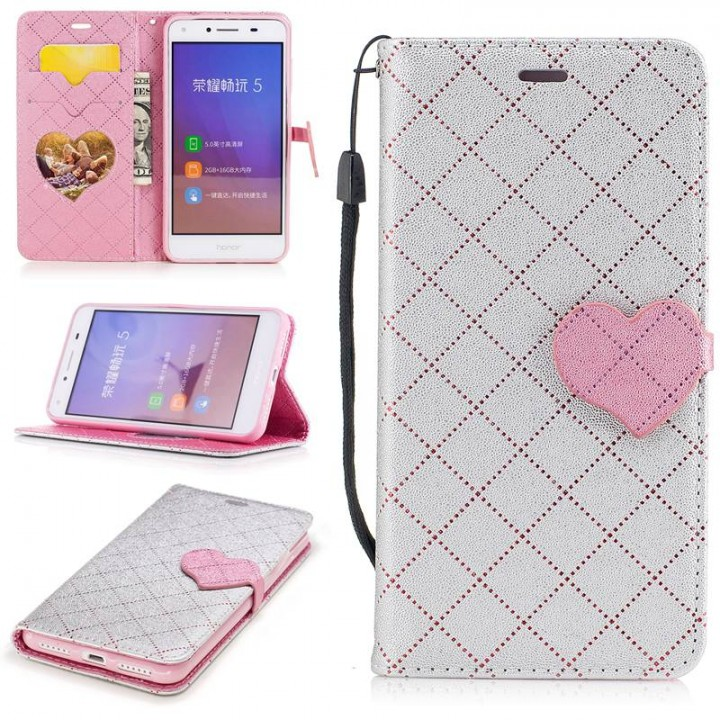 Huawei Y5II/Y5 2 Case,PU Leather Wallet Flip Phone Case Cover with Card Slot (Gray) For Huawei Y5II/Y5 2