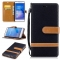 Huawei P9 Lite Case,Canvas [Denim Material] Folio Wallet Case (Black) For Huawei P9 Lite