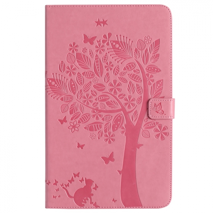Samsung Galaxy Tab A 10.1 Inch Tablet SM-T580/T585 Case,Embossed [Tree Cat] Folio Flip Wallet Cover (Pink) For Galaxy Tab A 10.1 Inch Tablet SM-T580/T585