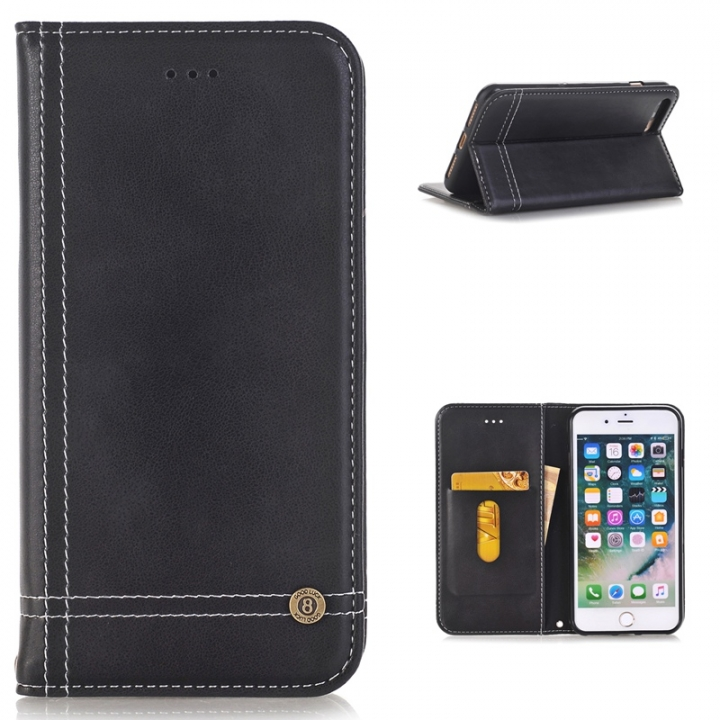 iphone 7 plus Case,Premium PU Leather [Wallet Case] With Card Slots and Inner Pocket Cover (black) for iphone 7 plus