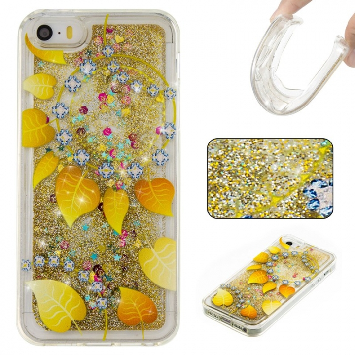 Iphone 5S 5C SE Case,Liquid Quicksand Floating Clear Soft TPU Protective Cover (pattern 9) For Iphone 5S 5C SE