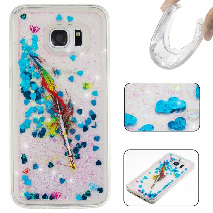 Samsung Galaxy S7 edge Case,Liquid Quicksand Floating Clear Soft TPU Protective Cover (pattern 6) For Samsung Galaxy S7 edge