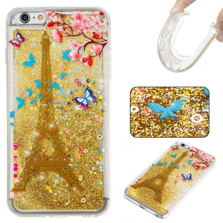 Iphone 6 plus Case,Liquid Quicksand Floating Clear Soft TPU Protective Cover (pattern 7) For Iphone 6 plus