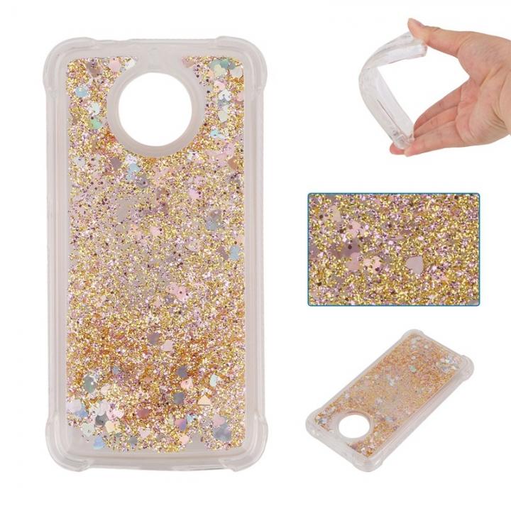 Motorola Moto G5S/Moto G6 Case,Dynamic Liquid Flowing Quicksand Love Heart Soft TPU Silicone Case (Golden) For Motorola Moto G5S/Moto G6