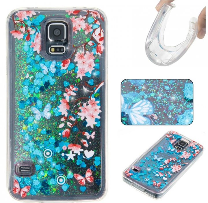 Samsung Galaxy S5 Case,Liquid Quicksand Floating Clear Soft TPU Protective Cover (pattern 10) For Samsung Galaxy S5