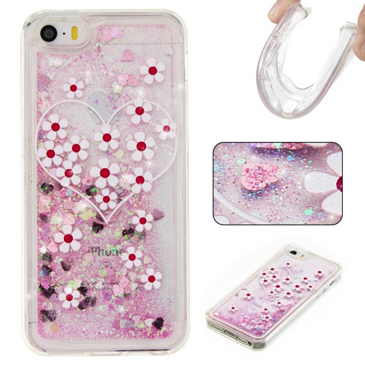 Iphone 5S 5C SE Case,Liquid Quicksand Floating Clear Soft TPU Protective Cover (pattern 3) For Iphone 5S 5C SE