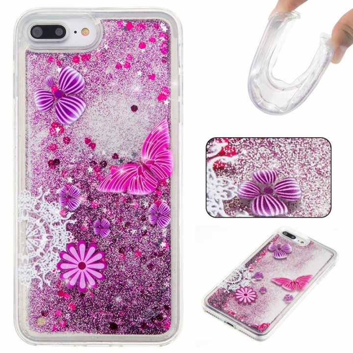 iPhone 7 plus/8 plus Case,Liquid Quicksand Floating Clear Soft TPU Protective Cover (pattern 5) For iPhone 7 plus/8 plus