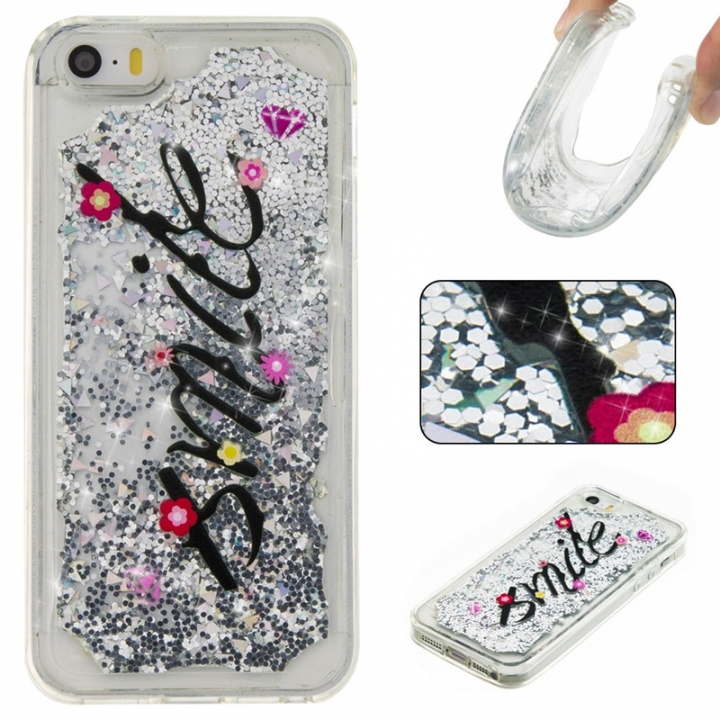 Iphone 5S 5C SE Case,Liquid Quicksand Floating Clear Soft TPU Protective Cover (pattern 1) For Iphone 5S 5C SE
