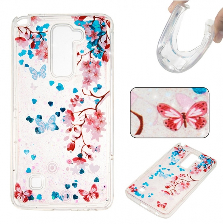 LG LS775 Case,Liquid Quicksand Floating Clear Soft TPU Protective Cover (pattern 10) For LG LS775