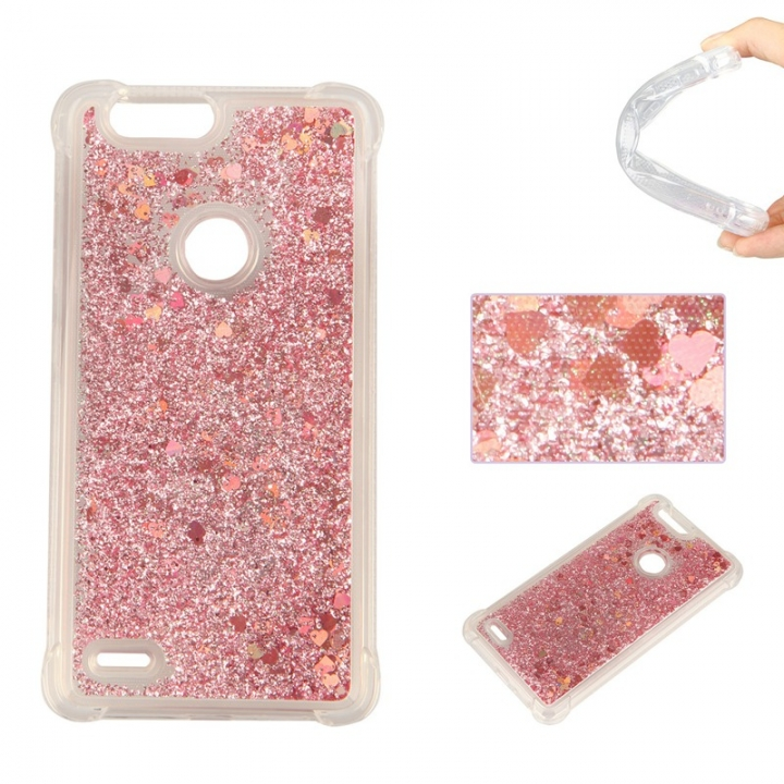 ZTE Sequoia Z982 Case,Dynamic Liquid Flowing Quicksand Love Heart Soft TPU Silicone Case (Rose gold) For ZTE Sequoia Z982