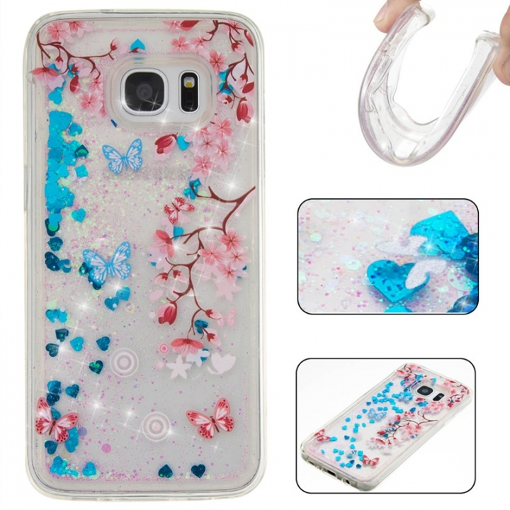 Samsung Galaxy S7 edge Case,Liquid Quicksand Floating Clear Soft TPU Protective Cover (pattern 10) For Samsung Galaxy S7 edge