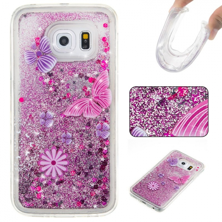 Samsung Galaxy S6 edge Case,Liquid Quicksand Floating Clear Soft TPU Protective Cover (pattern 5) For Samsung Galaxy S6 edge