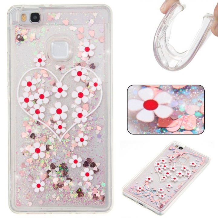 Huawei P9 Lite Case,Liquid Quicksand Floating Clear Soft TPU Protective Cover (pattern 3) For Huawei P9 Lite