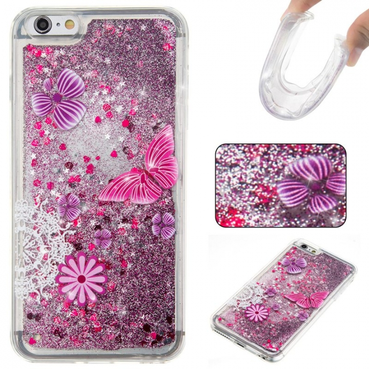 Iphone 6 plus Case,Liquid Quicksand Floating Clear Soft TPU Protective Cover (pattern 5) For Iphone 6 plus