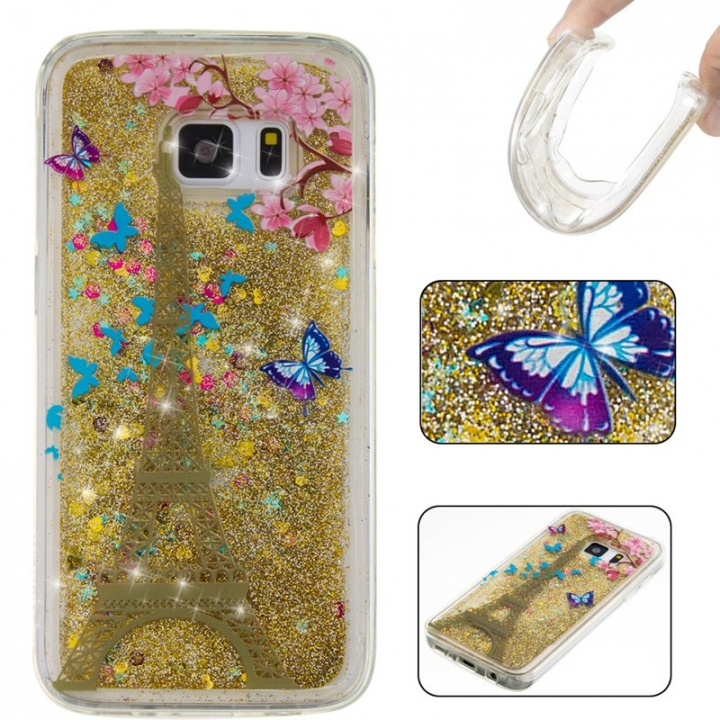 Samsung Galaxy S7 Case,Liquid Quicksand Floating Clear Soft TPU Protective Cover (pattern 7) For Samsung Galaxy S7