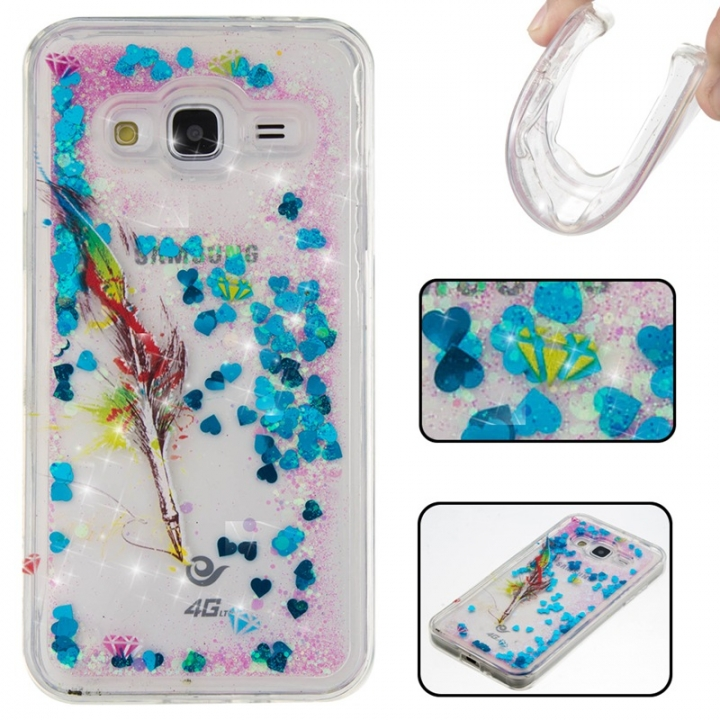Samsung Galaxy J3/J310 Case,Liquid Quicksand Floating Clear Soft TPU Protective Cover (pattern 6) For Samsung Galaxy J3/J310