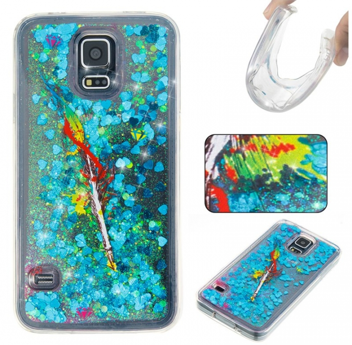Samsung Galaxy S5 Case,Liquid Quicksand Floating Clear Soft TPU Protective Cover (pattern 6) For Samsung Galaxy S5