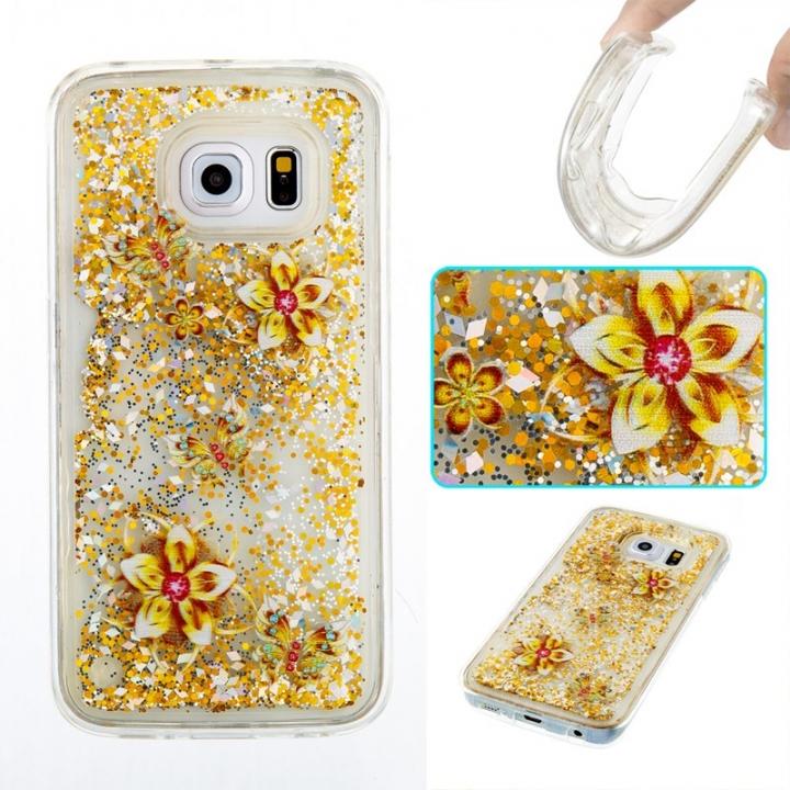 Samsung Galaxy S6 edge Case,Liquid Quicksand Transparent Soft TPU Silicone Case  (pattern 9) For Samsung Galaxy S6 edge