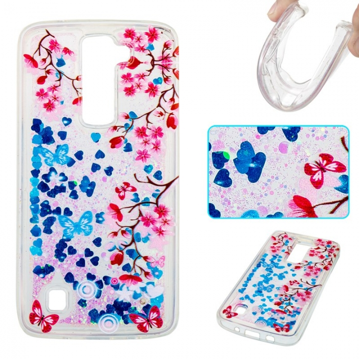 LG K7 K8 Case,Liquid Quicksand Floating Clear Soft TPU Protective Cover (pattern 10) For LG K7 K8