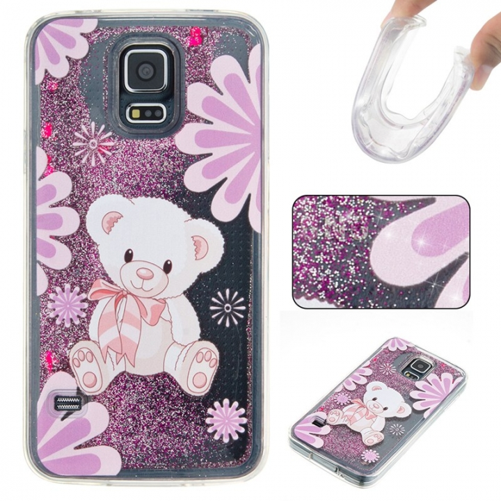 Samsung Galaxy S5 Case,Liquid Quicksand Floating Clear Soft TPU Protective Cover (pattern 4) For Samsung Galaxy S5