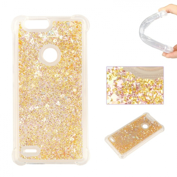 ZTE Sequoia Z982 Case,Dynamic Liquid Flowing Quicksand Love Heart Soft TPU Silicone Case (Golden) For ZTE Sequoia Z982