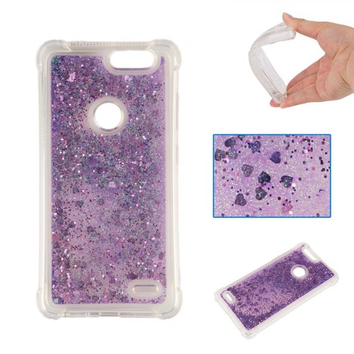 ZTE Sequoia Z982 Case,Dynamic Liquid Flowing Quicksand Love Heart Soft TPU Silicone Case (Deep purple) For ZTE Sequoia Z982