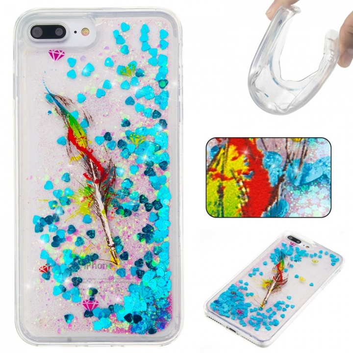 iPhone 7 plus/8 plus Case,Liquid Quicksand Floating Clear Soft TPU Protective Cover (pattern 6) For iPhone 7 plus/8 plus