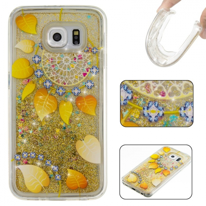 Samsung Galaxy S6 Case,Liquid Quicksand Floating Clear Soft TPU Protective Cover (pattern 9) For Samsung Galaxy S6
