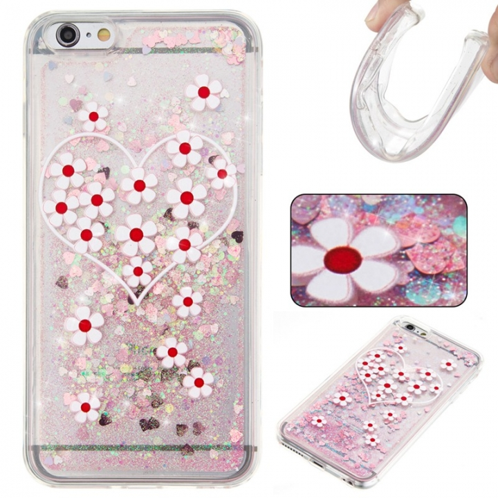 Iphone 6 plus Case,Liquid Quicksand Floating Clear Soft TPU Protective Cover (pattern 3) For Iphone 6 plus