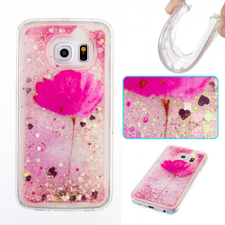 Samsung Galaxy S6 edge Case,Liquid Quicksand Transparent Soft TPU Silicone Case  (pattern 5) For Samsung Galaxy S6 edge