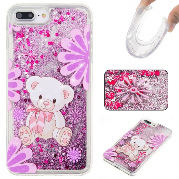 iPhone 7 plus/8 plus Case,Liquid Quicksand Floating Clear Soft TPU Protective Cover (pattern 4) For iPhone 7 plus/8 plus