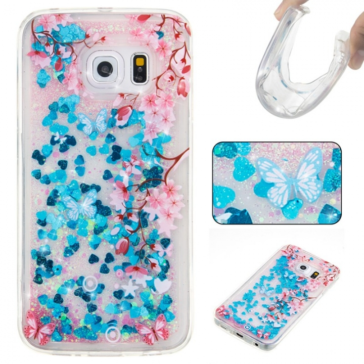 Samsung Galaxy S6 edge Case,Liquid Quicksand Floating Clear Soft TPU Protective Cover (pattern 10) For Samsung Galaxy S6 edge