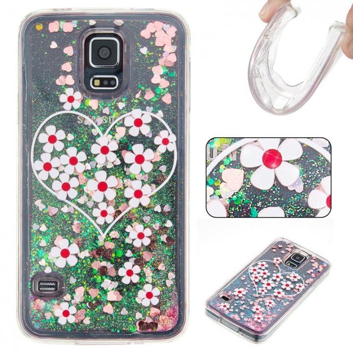 Samsung Galaxy S5 Case,Liquid Quicksand Floating Clear Soft TPU Protective Cover (pattern 3) For Samsung Galaxy S5