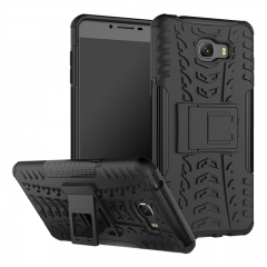 Samsung Galaxy C9 Pro Case, Hard PC+Soft TPU Shockproof Tough Dual Layer Cover Shell (black) For Galaxy C9 Pro